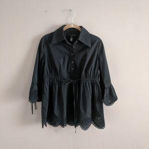 Robert Rodriguez Sz 6 Black Cotton Button Up Top